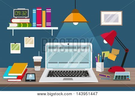 Desk with laptop documents and stationery. Workplace for the business and education. Flat design illustration for web design flyers and presentations