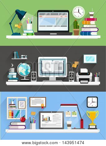 Desk with computer documents and stationery. Workplace for the business and education. Flat design illustration for web design flyers and presentations