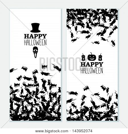 Happy Halloween vertical banners with black rats hat skull pumpkin. Vector leaflet.