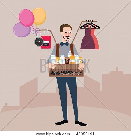 man selling on the street balloon glasses clothes drink vector