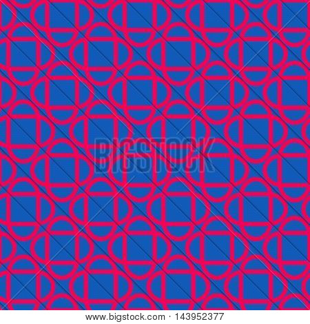 Retro 3D Blue And Pink Diagonally Cut Intersecting Ovals