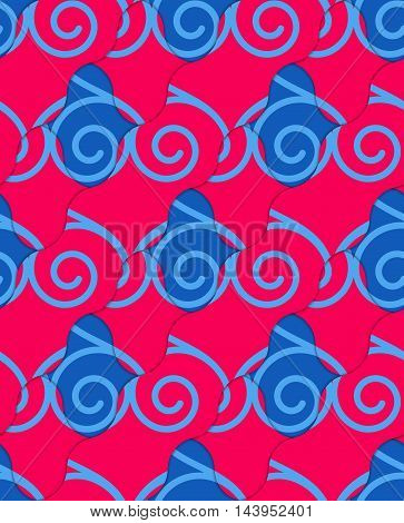 Retro 3D Blue And Pink Wavy Stripes Crossed