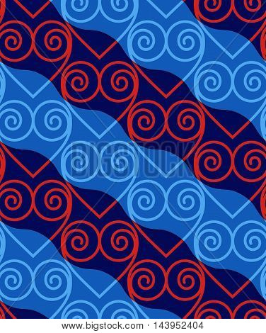 Retro 3D Blue And Red Swirly Hearts
