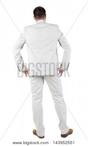 Businessman  looks ahead. rear view. Isolated over white