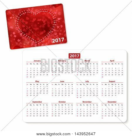 Horizontal pocket calendar on 2017 year. Vector template pocket calendar with illustration cover.