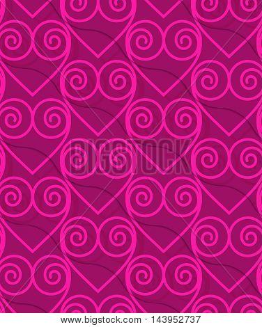 Retro 3D Deep Pink Swirly Hearts