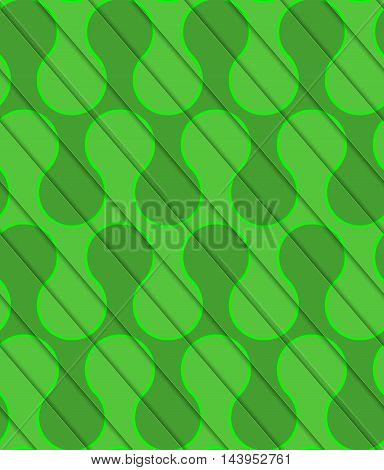 Retro 3D Diagonal Cut Green Waves