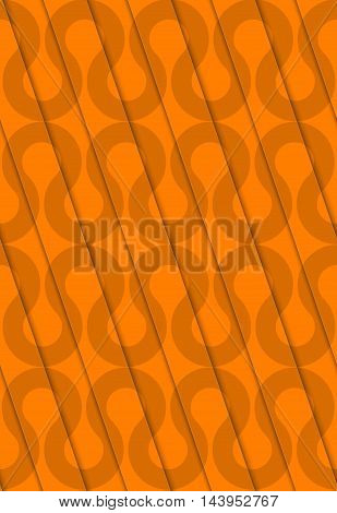 Retro 3D Diagonal Cut Orange Waves