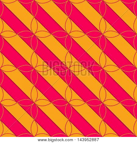 Retro 3D Pink And Orange Diagonal With Four Foils