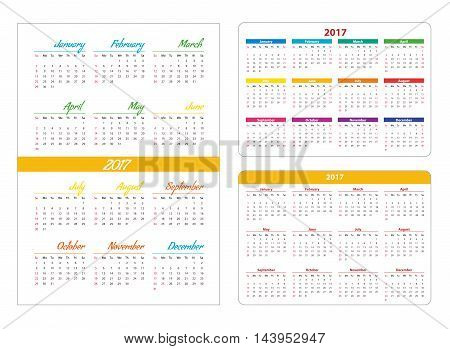Horizontal pocket calendar on 2017 year. Vector template calendar for business on white background.