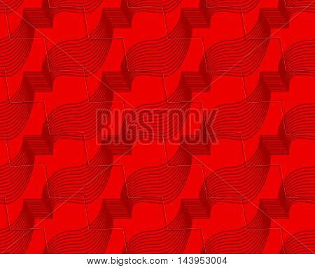 Retro 3D Red Zigzag Cut Ribbons