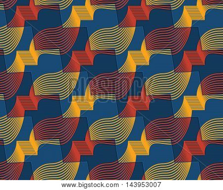 Retro 3D Red Yellow And Blue Zigzag Cut Ribbons