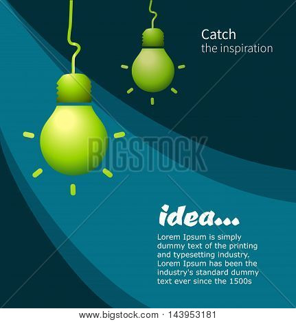 Lamp on dark background. Concept idea. Vector illustration for the cover, or books.