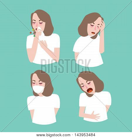 woman girl symptoms sick cough flu vector