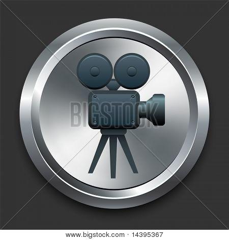 Film Camera Icon on Metal Internet Button Original Vector Illustration