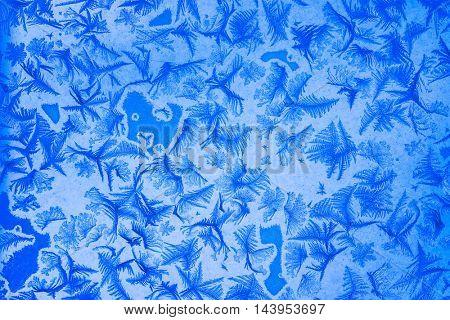 Winter frost patterns on window glass in winter