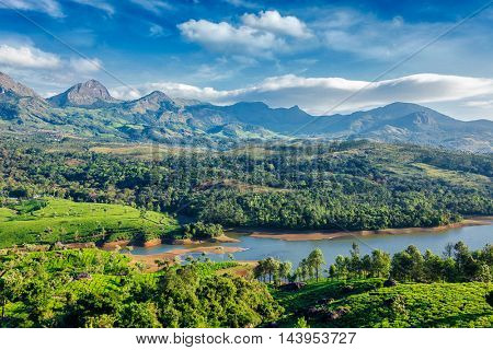 Kerala travel tourism background - tea plantations gardens and Muthirappuzhayar River in hills near Munnar, Kerala, India