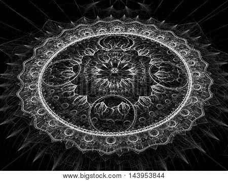 Abstract fractal mandala flower - computer-generated image. Digital art: complex mystical pattern - silver circles and curves with light effects. Sacred geometry for banners, web design, covers.