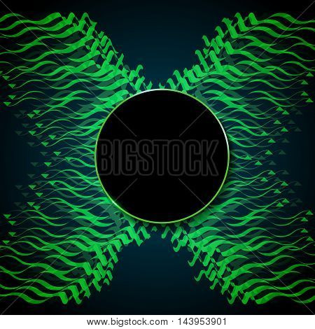 abstract Green letter X on dark background. Vectortemplate abstract letter X. Line and movement on the background.empty space for text