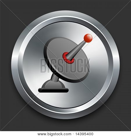 Satellite Dish Icon on Metal Internet Button Original Vector Illustration