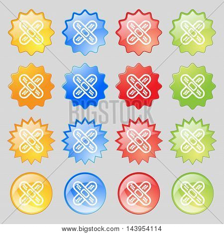 Adhesive Plaster Icon Sign. Big Set Of 16 Colorful Modern Buttons For Your Design. Vector