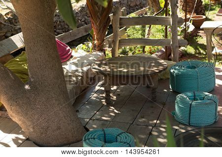 Green patio privacy outdoor sofa to have a rest
