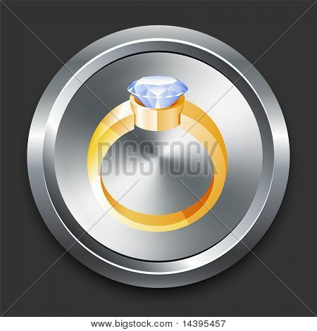 Engagement Ring Icon on Metal Internet Button Original Vector Illustration
