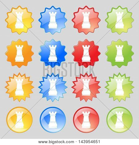 Chess Rook Icon Sign. Big Set Of 16 Colorful Modern Buttons For Your Design. Vector