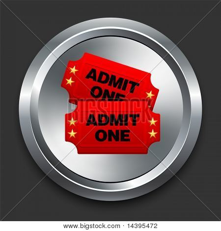 Admission Tickets Icon on Metal Internet Button Original Vector Illustration