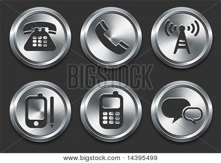 Iconos de la tecnología en Internet Metal botón Original Vector Illustration
