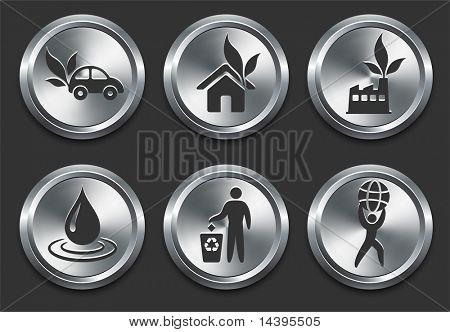 Environmental Icons on Metal Internet Button Original Vector Illustration