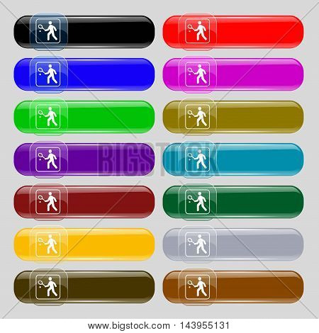 Tennis Player Icon Sign. Set From Fourteen Multi-colored Glass Buttons With Place For Text. Vector