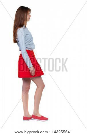 back view of walking  woman. beautiful blonde girl in motion.  backside view of person.  Rear view people collection. Isolated over white background. Long-haired brunette in red skirt passes.