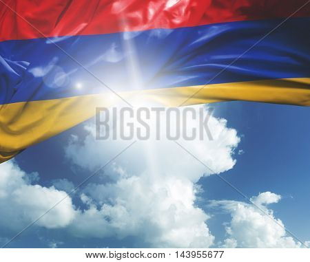 Armenia flag on a beautiful day