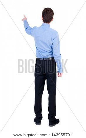 Back view of pointing business man.  Rear view people collection.  backside view of person.  Isolated over white background. Businessman in a blue shirt pointing her finger away.