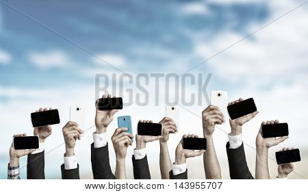 Crowd of people with phone in hands