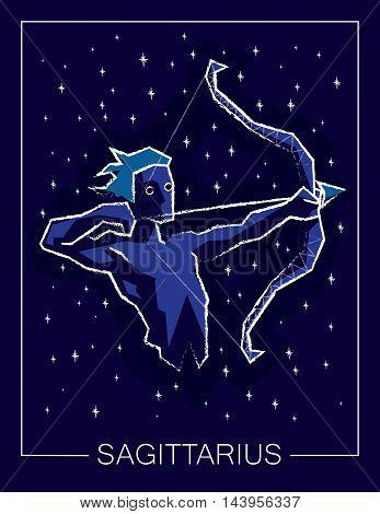 Zodiac sign Sagittarius on night starry sky background. Vector illustration.