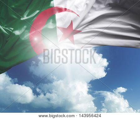 Algeria flag on a beautiful day