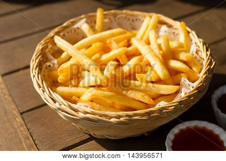 The French Fries With Ketchup And Chilli Souce.