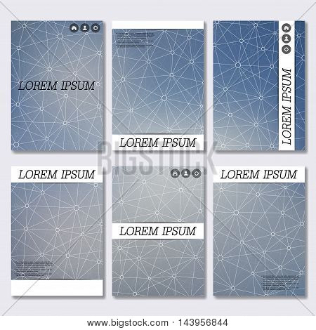Set of business templates for brochure, flyer, cover magazine in A4 size. Structure molecule of DNA and neurons. Geometric abstract background. Medicine, science and technology. Vector illustration.