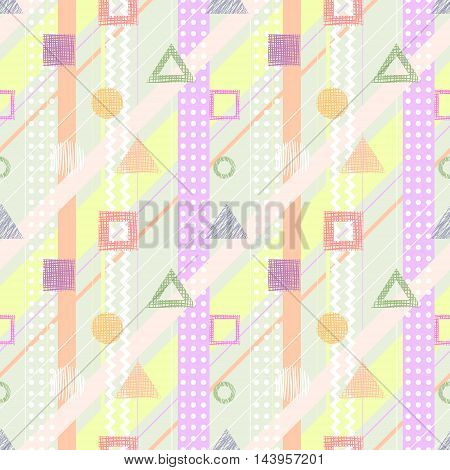 Seamless vector geometrical pattern. Endless background with different hand drawn colorful geometric figures.