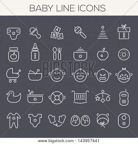 Trendy line icons - Baby Staff icons collection