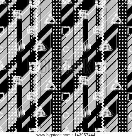 Seamless vector black white grey geometrical pattern. Endless background with different hand drawn geometric figures.
