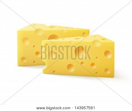 Vector Triangular Pieces of Swiss Cheese Close up Isolated on White Background