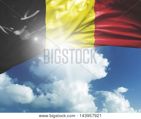 Belgium flag on a beautiful day
