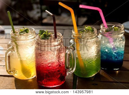 The Full Color Juice soda in evening.