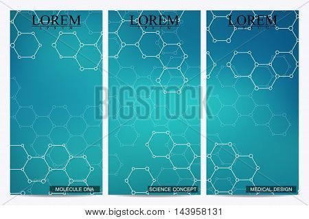 Set of modern vector flyers. Abstract background with molecule structure DNA and neurons. Medicine, science, technology banner, card, web, certificate. Vector illustration