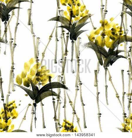 Watercolor and ink abstract illustration of bamboo and flowers. Sumi-e painting. Seamless pattern texture.