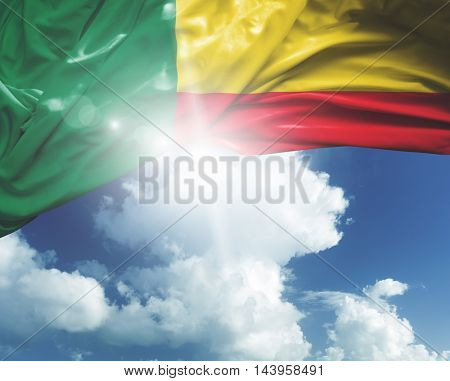 Benin flag on a beautiful day