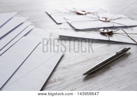 Letters with seal on table
